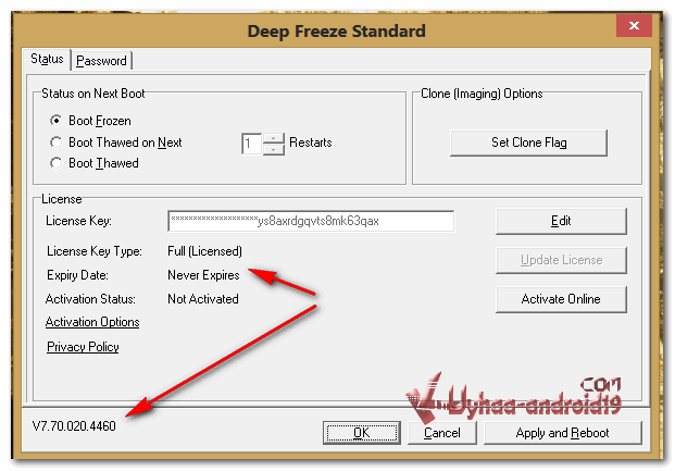 deep freeze 7.70 serial key